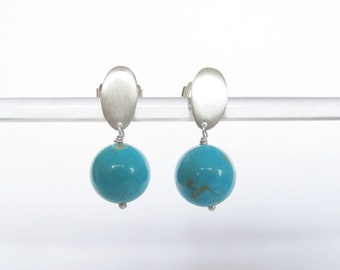 Turquoise dangling matte silver drop ear dangling minimalist stud earring turquoise gemstone Summer everyday amy kreiling
