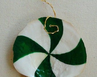 Hand Painted Scallop Shell Christmas Ornament - Shell from Salem Harbor - Spearmint