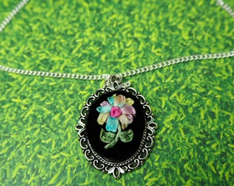Rainbow Daisy Flower Necklace | Ribbon Embroidery | Handmade Necklace