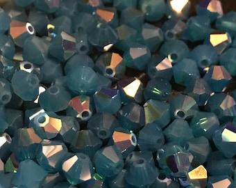 72pc Swarovski 4mm 5301 Caribbean Opal AB Bicone Crystal Beads