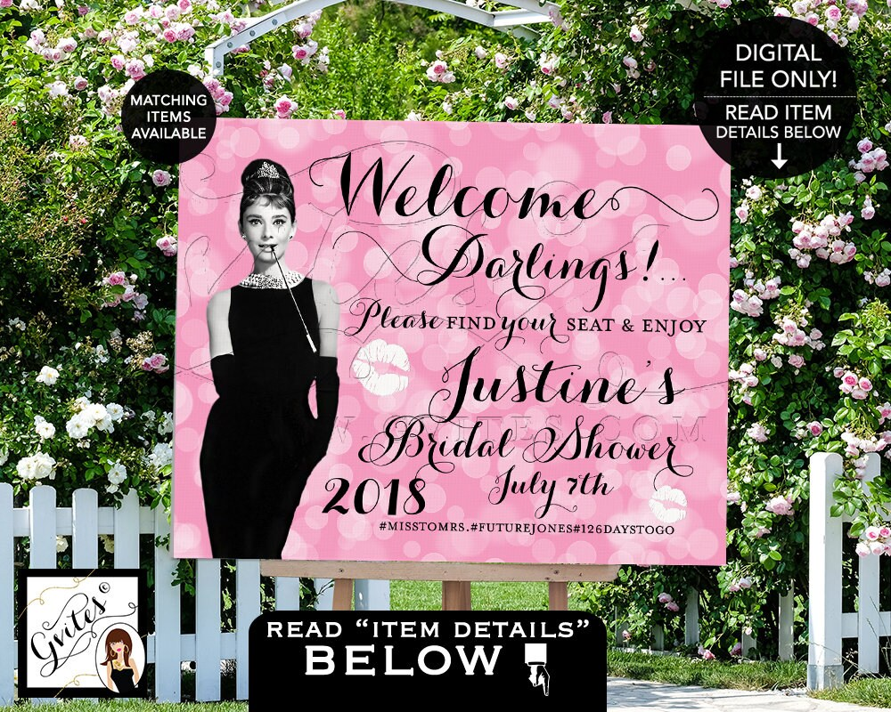 Welcome Sign Bridal Shower Pink And Black Breakfast At Audrey