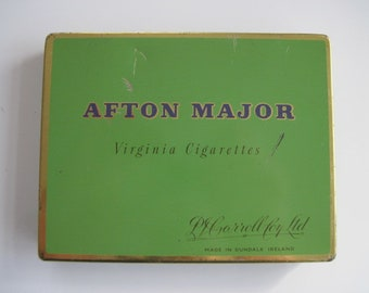 Afton Major Cigarette tin (50.empty) by P.J Carroll c.1950-60