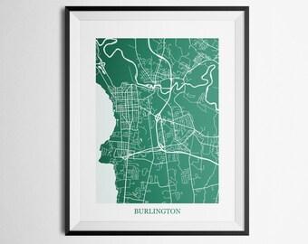 Burlington, Vermont, University of Vermont Abstract Street Map Print