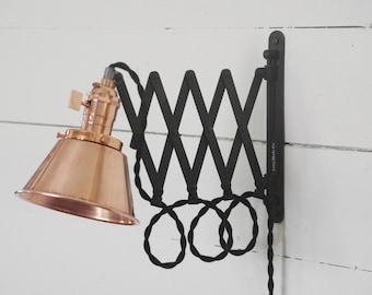 Copper Scissor Lamp & Black Patina - Industrial Articulating Wall Lamp Light - Antiqued Patina - Adjustable Accordion lamp - Copper Sconce