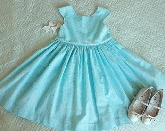 Size 7 summer dress, blue floral dress, cotton summer dress, girls summer dress