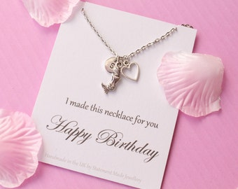 Mermaid necklace, Birthday gift, mermaid gift, mermaid, gift for sister, Message card necklace, inspirational message necklace, MERMCN06