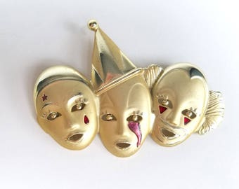 90s Jewelry Vintage Clown Pin Circus Pin 90s Pin Vintage 90s Brooch 90s Accessories Lapel Pin Vintage Brooch Three Clown Pin Metal Brooch