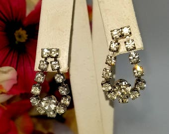 Pierced Rhinestone Dangle Teardrop Loop Earrings
