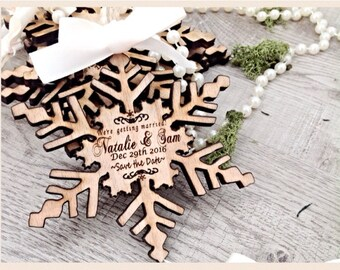 Save the date, Unique save the date invites, wooden save the date invites, snowflake,Winter wedding, Save the date magnets.