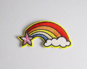 Rainbow patch, Iron on patch, Patches for jackets, Gay pride patch, Embroidery patch, Rainbow cloud embroidered patch