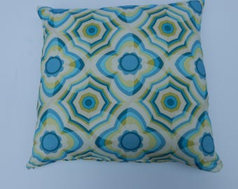 Colorful geometric print with Aqua blue, green ,yellow, works well with our florals and striped pillow covers