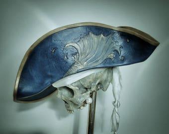 Blue Leather Pirate Tricorn Hat