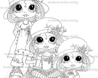 INSTANT DOWNLOAD Digital Digi Stamps Big Eyed Derby hat darlins trio Besties Big Head Dolls Digi By Sherri Baldy
