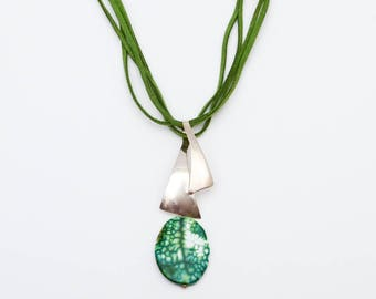 Use Code NEXT0RDER to get 10% off+ Free Shipping Taxco Silver Jewelry, Tree Agate Necklace, Leather Necklace, Pendant Necklace