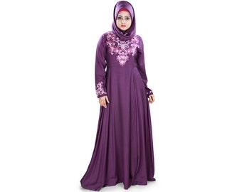 MyBatua Frauen schöne Abaya | mcbrella schnitt jilbab | ethnische islamische Kleidung | dubai fancy Burka | Maxikleid Rayon lila AY-404