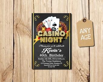 CASINO INVITATION, Casino Party Invitations, Casino  Birthday Invitation, Casino, Poker, Printable invitations, Casino  Birthday