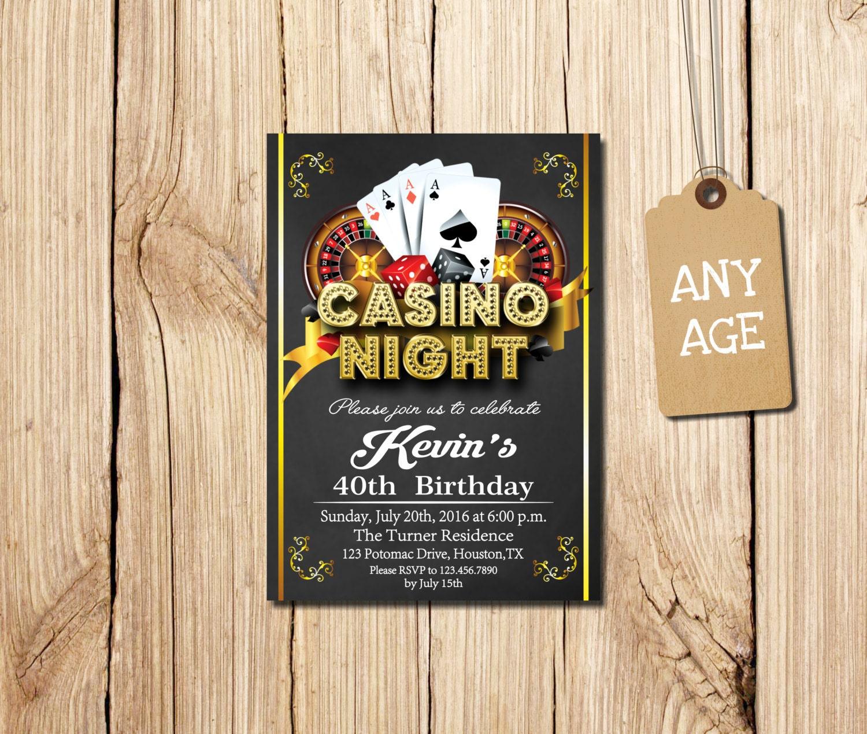 CASINO INVITATION Casino Party Invitations Casino Birthday