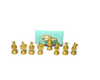 Pineapple Place Card Holders Fruit Place Card Holders Gold Pineapples Gold Wedding Place Card Holders