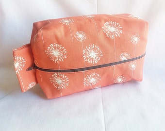 Coral Dandelion Toiletry Bag
