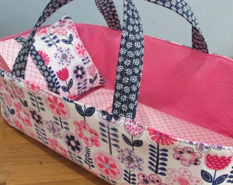 Doll Carrier, Pink and Navy Flowers with Pink Lining, 14 Inches Long, Doll Basket