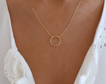 Gold Circle Necklace / Textured Open Circle / Karma, Love, Eternity, Infinity Ring Necklace / Gold Dainty Circle Outline / Open Ring