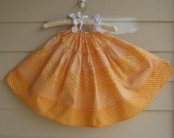 Child's Orange and White Tiered Print Pillowcase Dress - 18 to 24 month - Tiered