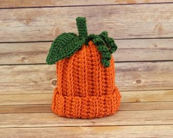 Baby Pumpkin Hat, Crochet Pumpkin Hat, Infant Prop Hat, Choose your size,Baby Hat,Ready to ship!