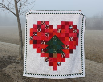 Christmas Quilt PDF Pattern, Christmas Tree Quilt, charm square pattern, tree lover's quilt pattern, Christmas Heart Quilt