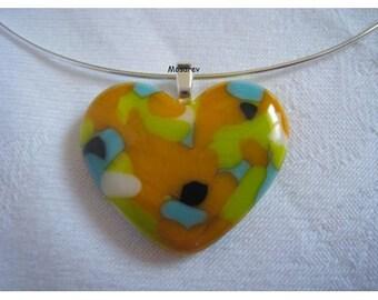 """Heart"" pendant fusing colors orange, turquoise, black, Apple green, white"