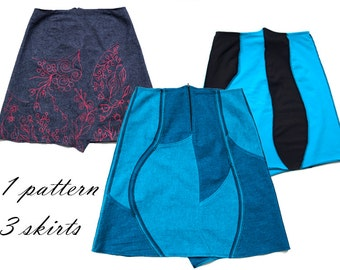 Puzzle Skirt Pattern One pattern, three skirt instructions for three versions and even overlock sewing pattern