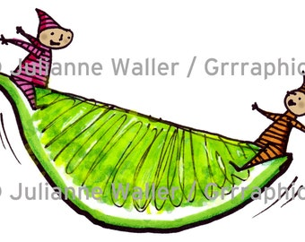 People with Food: lime digital printable clipart