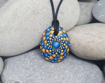Painted Stone Necklace - Paint Rock - Mandala Rock - Dot Jewelry - Mandala Art - Hand-Painted Pendant Stone - Chakra