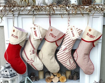 Striped Linen Canvas Christmas Stockings Sweet Red White Personalized Christmas Stockings Embroidered Button Fabric Name Tags