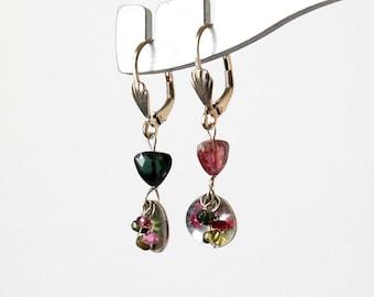Tourmaline Beaded Sterling Silver Earrings  Pink and Green Gemstone Silver Earrings  Colorful Gemstone Earrings