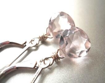 Morganite Pink, leverback earrings, dangle earrings, simple drop, Morganite pink Drop Earrings, Morganite quartz , pale pink earrings,
