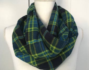 Colorful Infinity Scarf / Women's Infinity Scarf / Men's Infinity Scarf / Flannel Infinity Scarf / Winter Scarf / Blue And Green Flannel