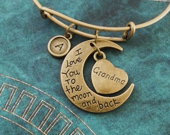 I Love You to the Moon and Back Bracelet Brass Grandma Bracelet Granddaughter Bangle Adjustable Bangle Expandable Bangle Personalized Bangle