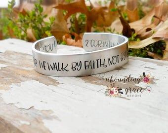 For we walk by faith not by sight bracelet, corinthians, scripture bracelet, inspirational, cuff bracelet, hidden message, christian jewelry