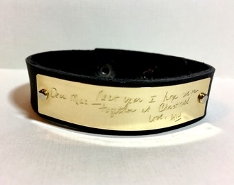 Handwriting Bracelet for Men Brown Black Leather Custom Handwritten Bracelet Copper Personalized Bracelet Boyfriend gift Engraved Mens Cuff