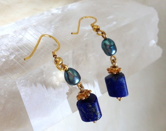 Gold-Plated Silver Earrings Lapis Lazuli and freshwater Pearls Lightweight Dangle Earrings