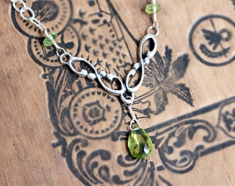 Peridot necklace, silver y necklace silver, august birthstone necklace, bridesmaid necklace, wedding necklace, gift for bride, Wrought