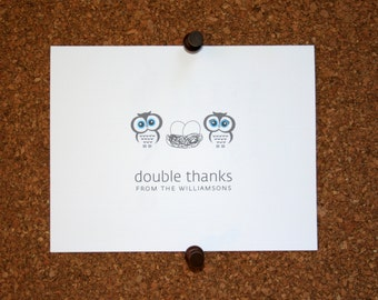 Owl Twins Baby Thank You Cards. Custom Twin Baby Shower Thank You Cards. Twin Baby Thank Yous. Personalized. Owls in Nest. Birds (Set of 10)