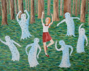 Annabelle and the Ghosts Have a Dance Party original art illustration painting