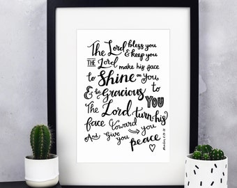 The Lord bless You And Keep You Print - Numbers 6:24-26 - Christian Prints - Calligraphy Print - Christian Gifts - Bible Verse Print