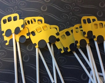 12 School Bus Cupcake toppers