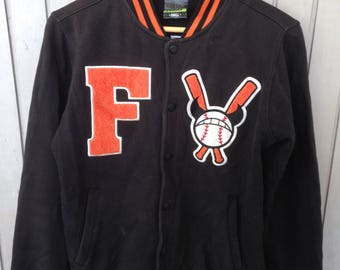 Vintage Baseball FELTICS Stadium Jacket Button Up Bomber Sports