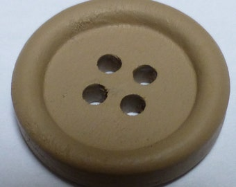 Small round hand painted wooden buttons – Tan