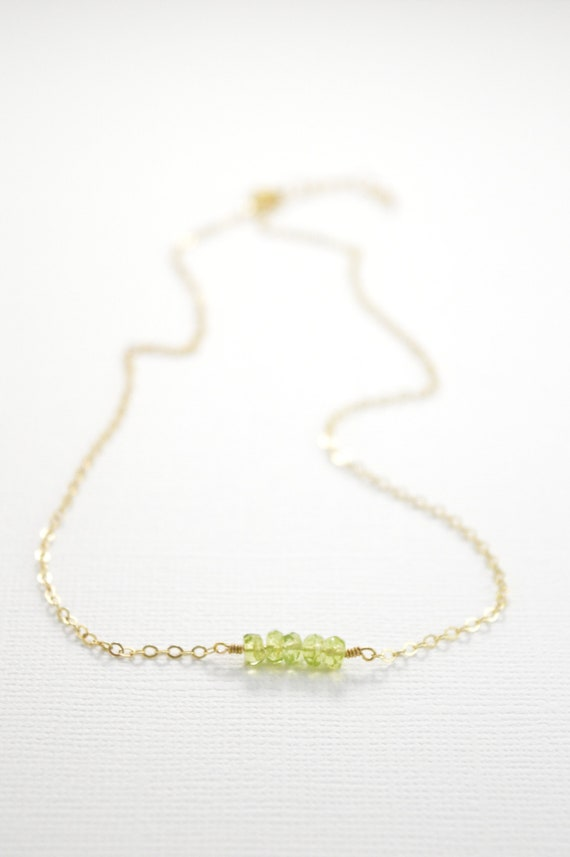 Gemstone Bar Necklace, Dainty 14k Gold Fill or Sterling Silver Silver, Delicate Gemstone Bar Necklace, Layering Necklace, Peridot Necklace