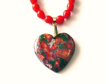 Jasper Heart Necklace, Jasper Heart Pendant, Orange Sea Sediment Jasper Heart Necklace and Glass Bead Necklace