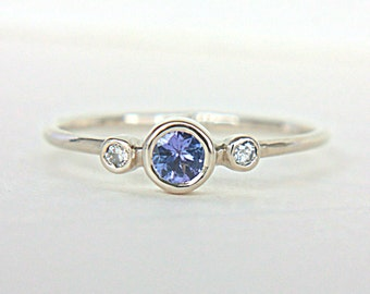 Tanzanite and Diamond Ring 14k White Gold Tanzanite Engagement Diamond Gold Ring Made in Your Size Alternative Engagement Ring